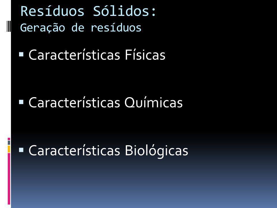 Resíduos Sólidos: Geração de resíduos Características Físicas Características Químicas Características Biológicas
