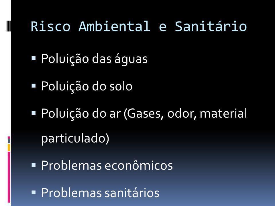 Risco Ambiental e Sanitário Poluição das águas Poluição do solo Poluição do ar (Gases, odor, material particulado) Problemas econômicos Problemas sani