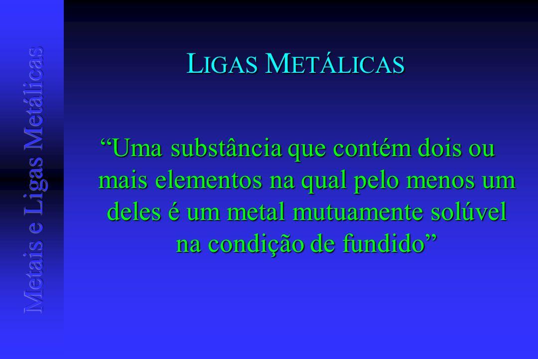 L IGAS M ETÁLICAS Uma substância que contém dois ou mais elementos na qual pelo menos um deles é um metal mutuamente solúvel na condição de fundido