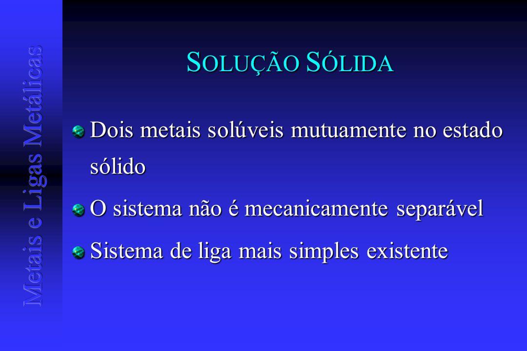 S OLUÇÃO S ÓLIDA Dois metais solúveis mutuamente no estado sólido O sistema não é mecanicamente separável Sistema de liga mais simples existente