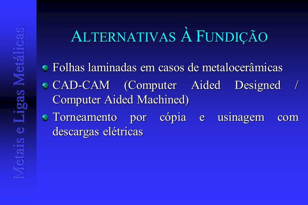 A LTERNATIVAS À F UNDIÇÃO Folhas laminadas em casos de metalocerâmicas CAD-CAM (Computer Aided Designed / Computer Aided Machined) Torneamento por cóp