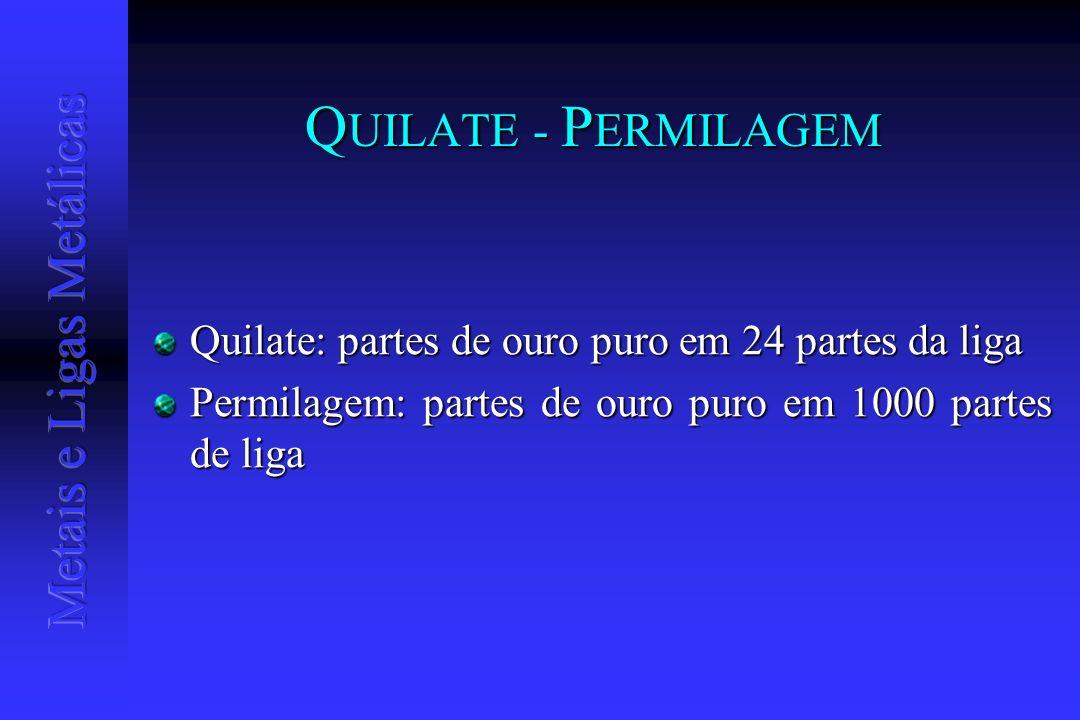 Q UILATE - P ERMILAGEM Quilate: partes de ouro puro em 24 partes da liga Permilagem: partes de ouro puro em 1000 partes de liga