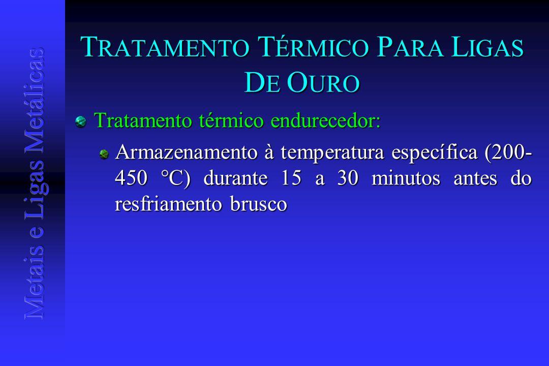 T RATAMENTO T ÉRMICO P ARA L IGAS D E O URO Tratamento térmico endurecedor: Armazenamento à temperatura específica (200- 450 °C) durante 15 a 30 minut