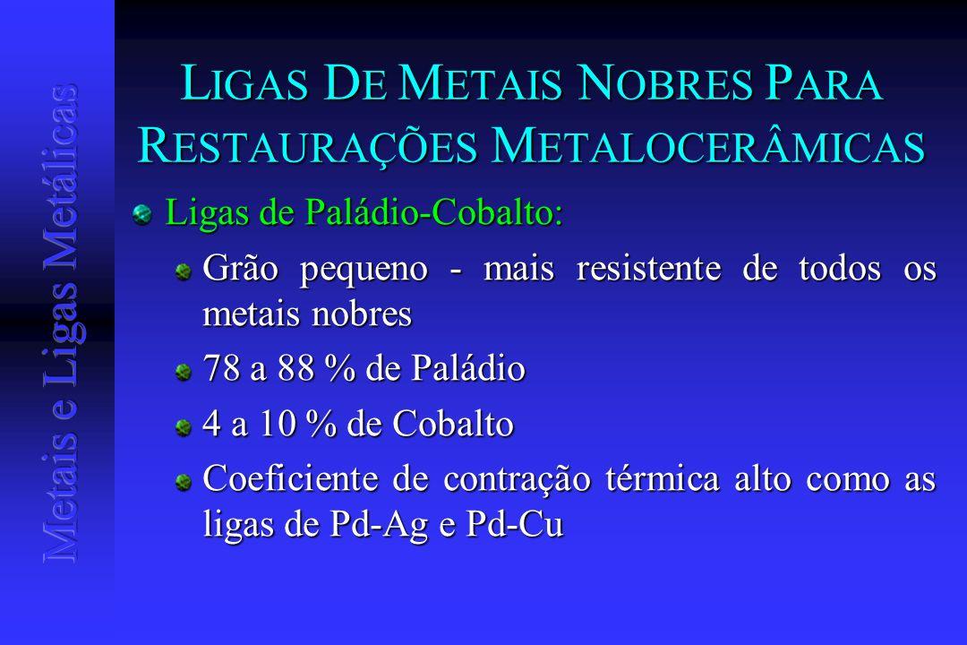 L IGAS D E M ETAIS N OBRES P ARA R ESTAURAÇÕES M ETALOCERÂMICAS Ligas de Paládio-Cobalto: Grão pequeno - mais resistente de todos os metais nobres 78