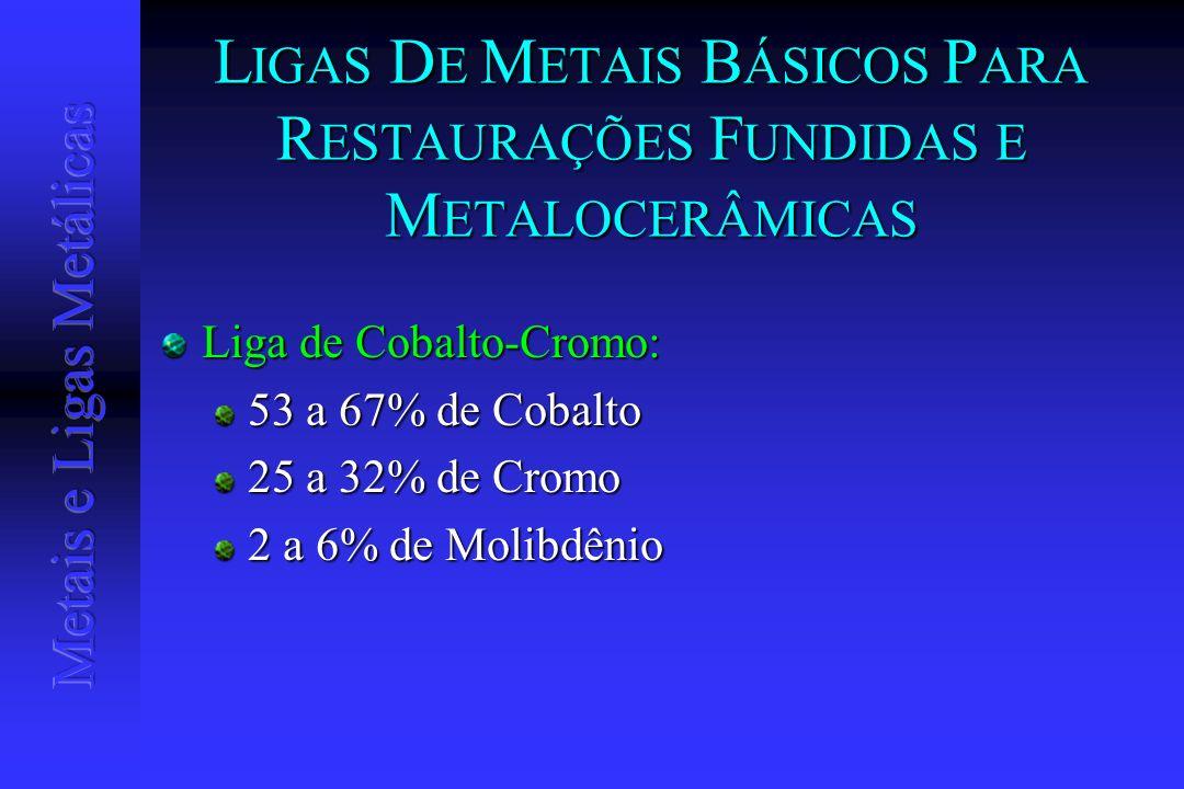 L IGAS D E M ETAIS B ÁSICOS P ARA R ESTAURAÇÕES F UNDIDAS E M ETALOCERÂMICAS Liga de Cobalto-Cromo: 53 a 67% de Cobalto 25 a 32% de Cromo 2 a 6% de Mo