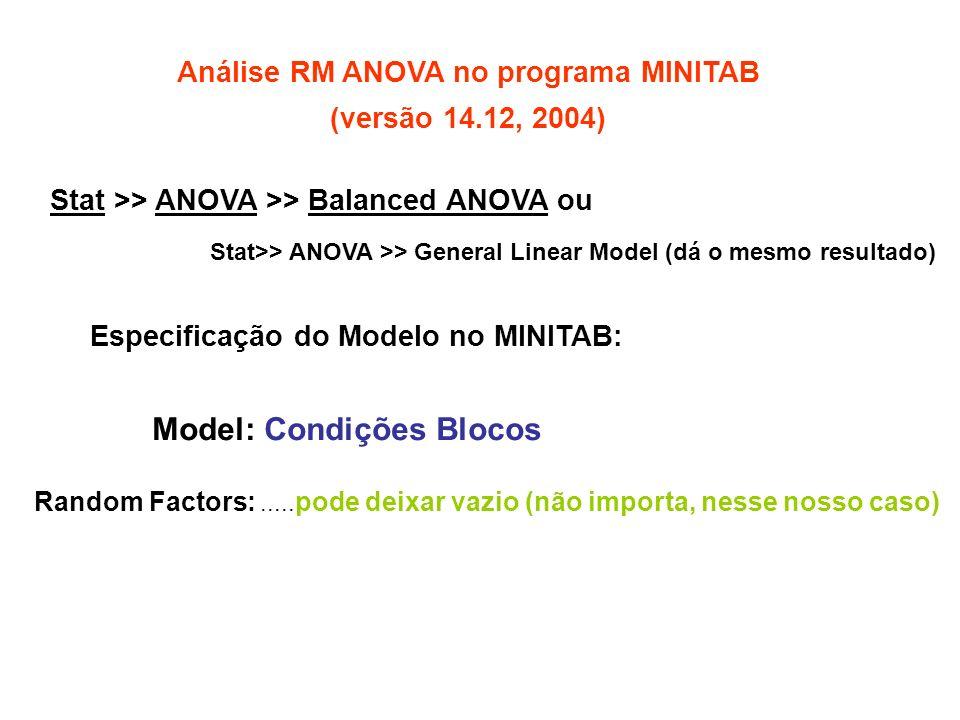 Análise RM ANOVA no programa MINITAB (versão 14.12, 2004) Stat >> ANOVA >> Balanced ANOVA ou Stat>> ANOVA >> General Linear Model (dá o mesmo resultado) Especificação do Modelo no MINITAB: Model: Condições Blocos Random Factors:.....