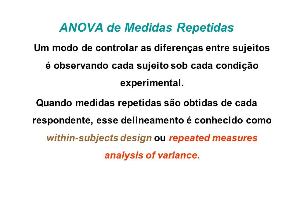 ANOVA de Medidas Repetidas Um modo de controlar as diferenças entre sujeitos é observando cada sujeito sob cada condição experimental.