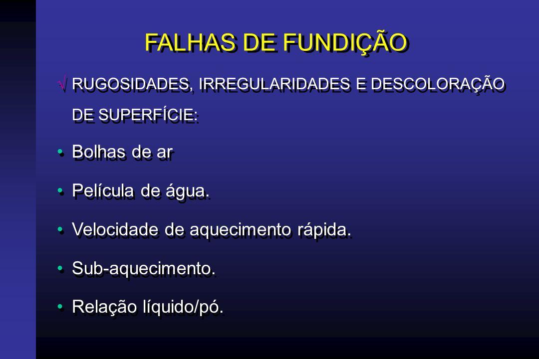 FALHAS DE FUNDIÇÃO RUGOSIDADES, IRREGULARIDADES E DESCOLORAÇÃO DE SUPERFÍCIE: Aquecimento prolongado.