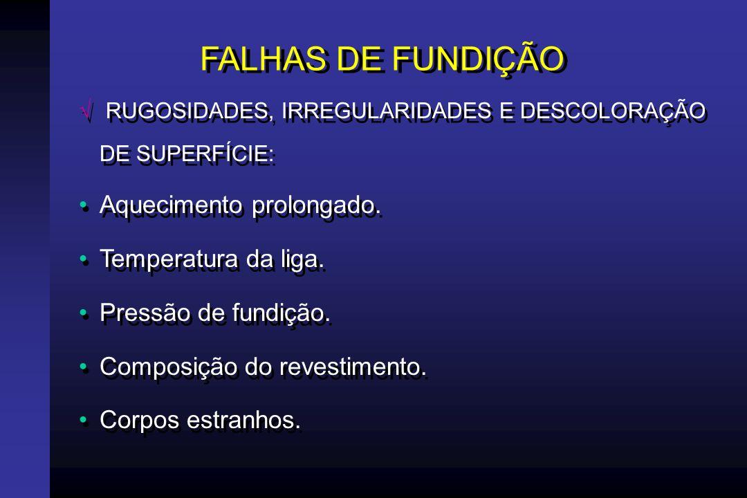 FALHAS DE FUNDIÇÃO RUGOSIDADES, IRREGULARIDADES E DESCOLORAÇÃO DE SUPERFÍCIE: Impacto da liga fundida.