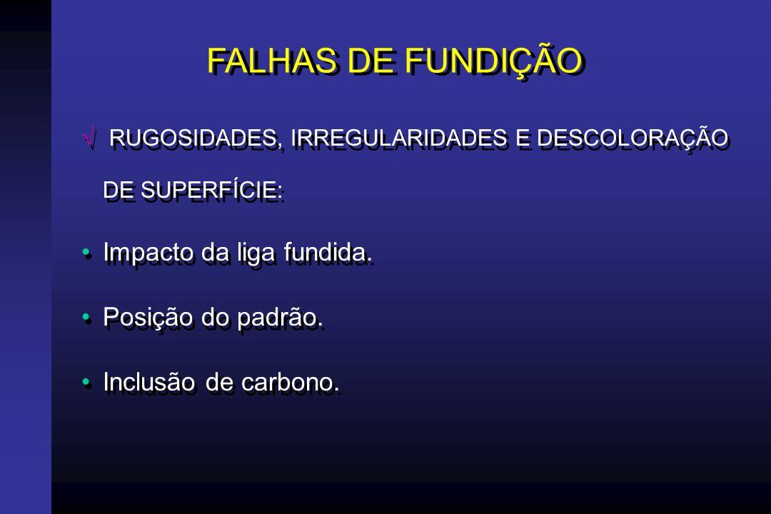 FALHAS DE FUNDIÇÃO POROSIDADE Contração de solidificação (contração localizada).