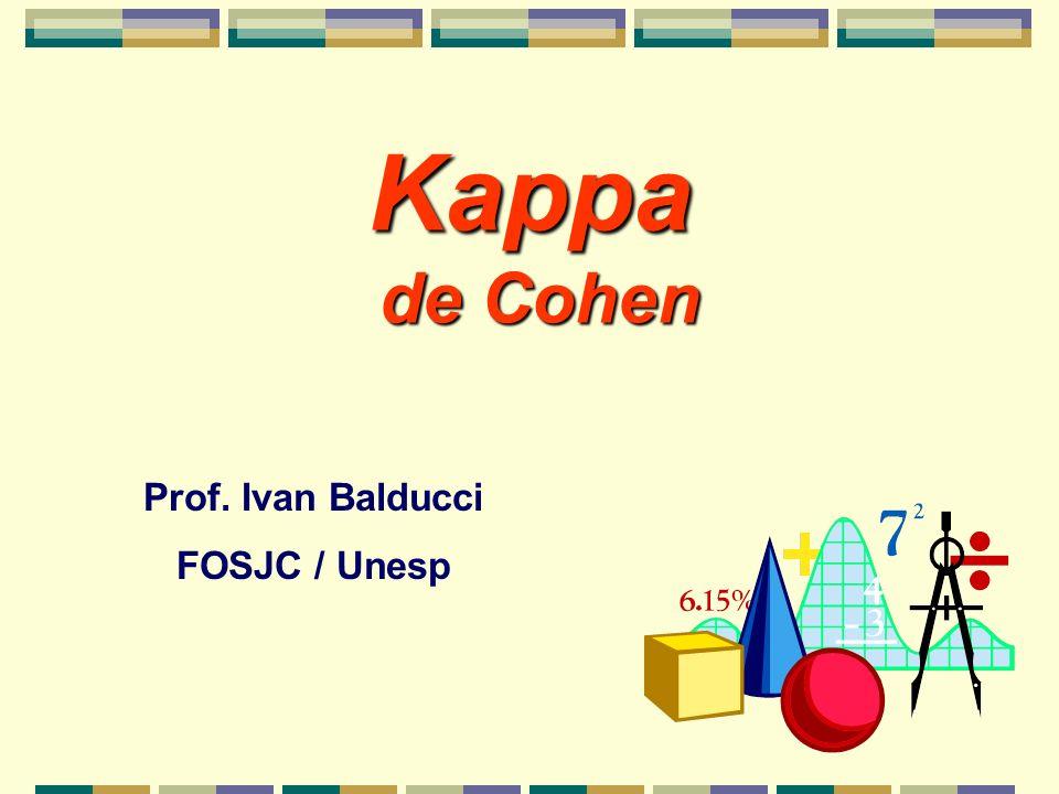 Kappa p/ Avaliar Confiabilidade Kappa é um teste de acordo (ou de confiabilidade) inter ou intra-observador que corrige o acordo obtido por acaso (casual) (sob hipótese de independência)