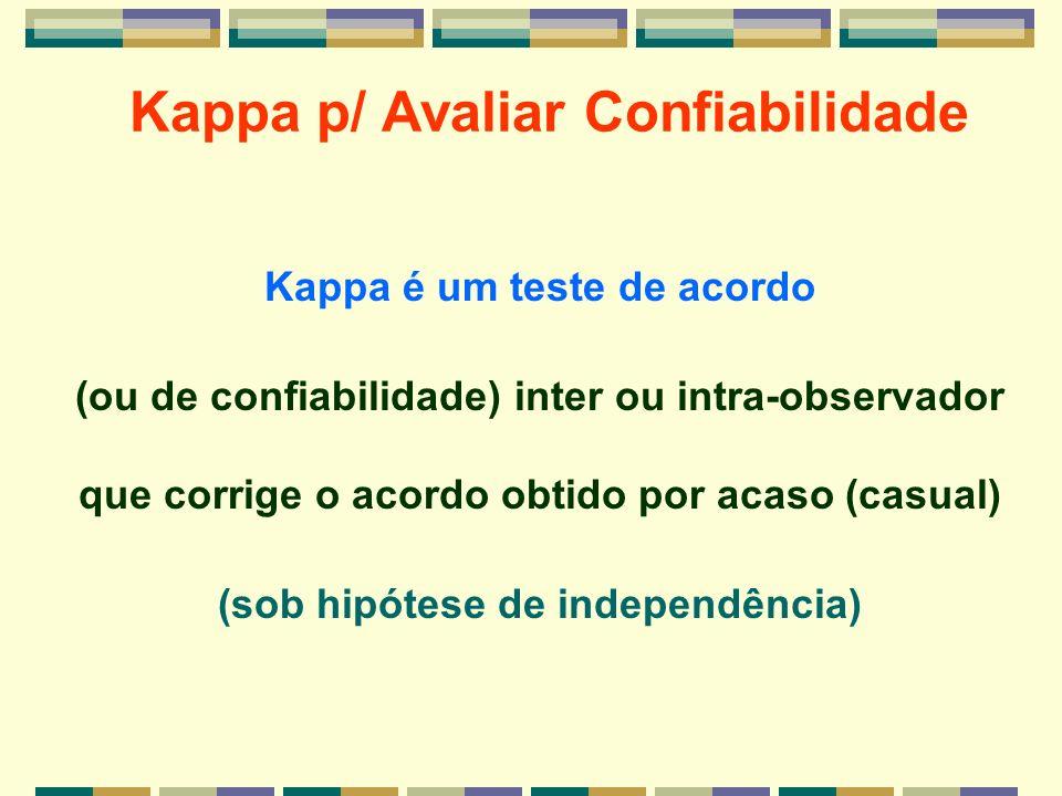 Kappa p/ Avaliar Confiabilidade Kappa é um teste de acordo (ou de confiabilidade) inter ou intra-observador que corrige o acordo obtido por acaso (cas