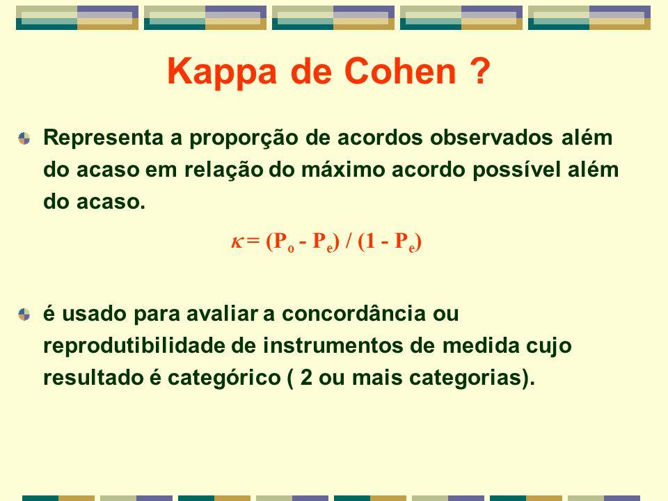 Kappa de Cohen ? Representa a proporção de acordos observados além do acaso em relação do máximo acordo possível além do acaso. é usado para avaliar a