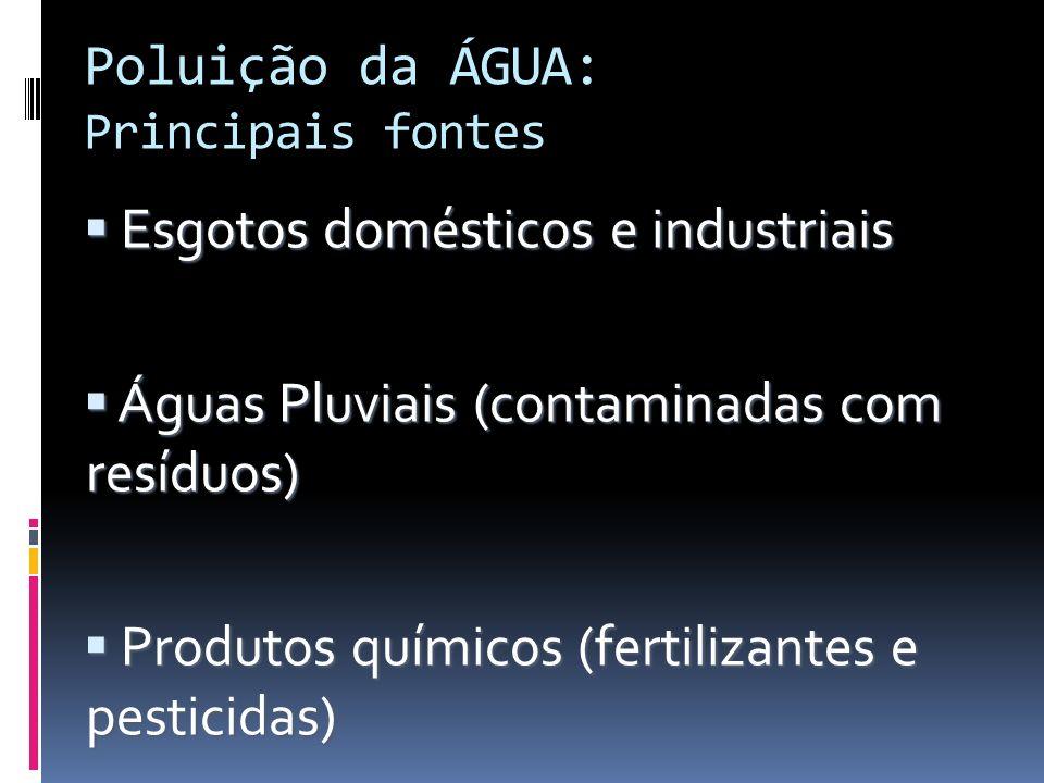 Poluição da ÁGUA: Principais fontes Esgotos domésticos e industriais Esgotos domésticos e industriais Águas Pluviais (contaminadas com resíduos) Águas