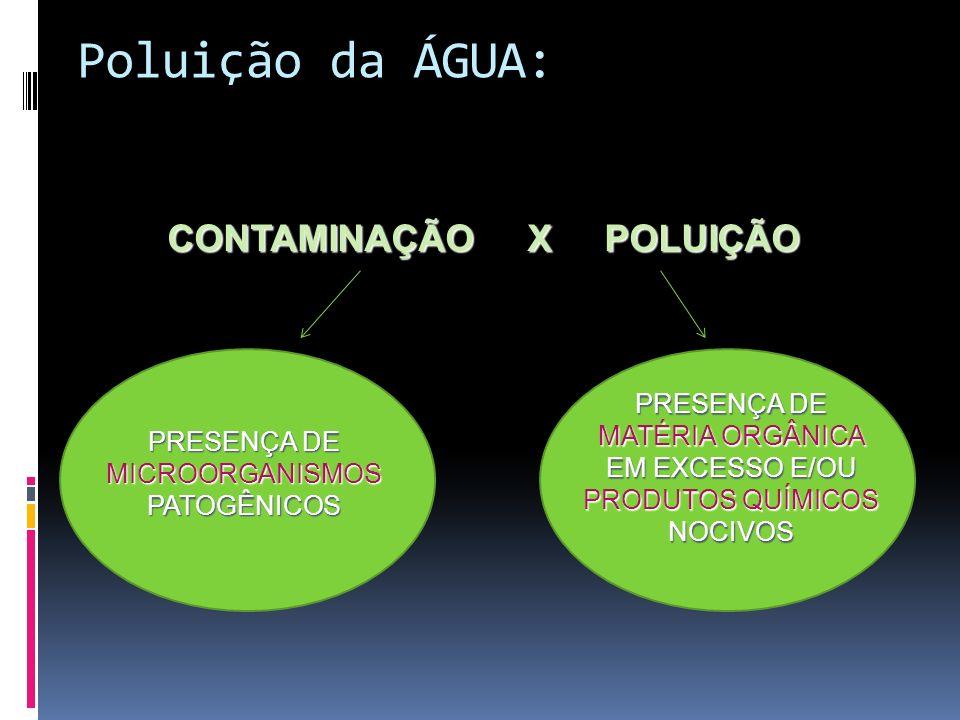 Poluição da ÁGUA: PRESENÇA DE MICROORGANISMOS PATOGÊNICOS PRESENÇA DE MATÉRIA ORGÂNICA EM EXCESSO E/OU PRODUTOS QUÍMICOS NOCIVOS CONTAMINAÇÃO X POLUIÇ