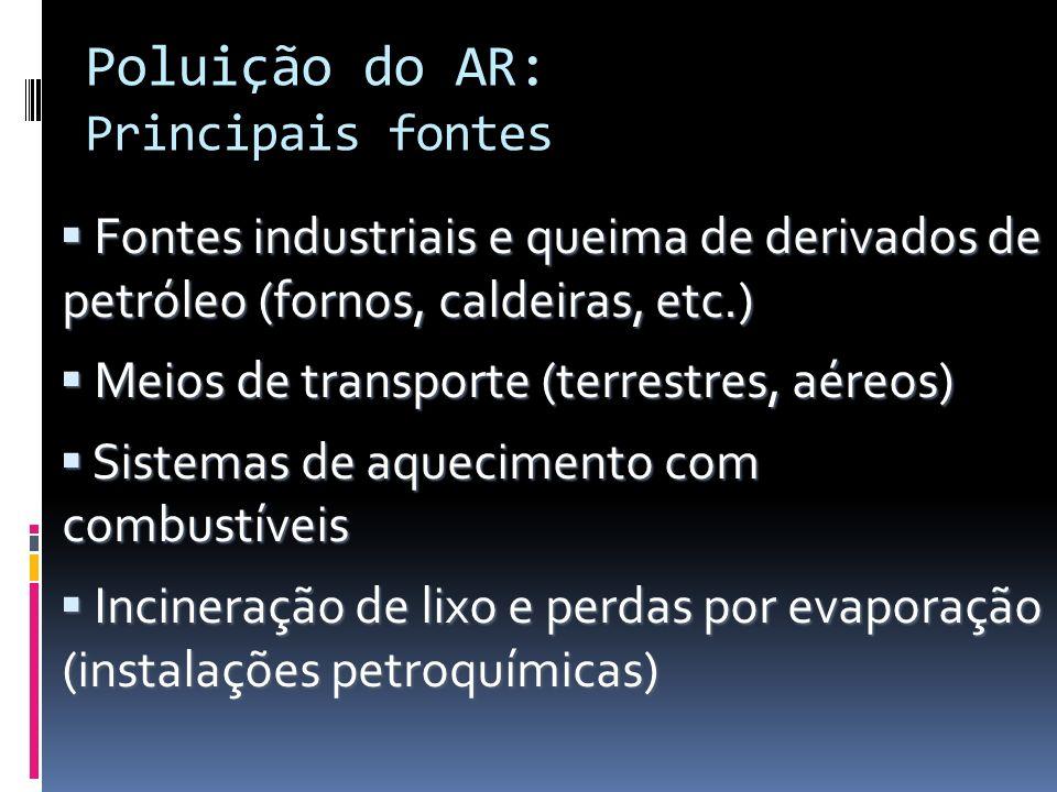 Poluição do AR: Principais fontes Fontes industriais e queima de derivados de petróleo (fornos, caldeiras, etc.) Fontes industriais e queima de deriva