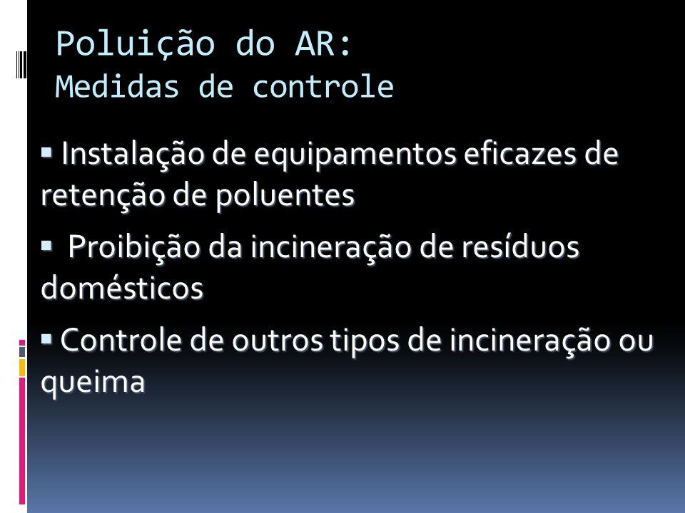 Poluição do AR: Medidas de controle Instalação de equipamentos eficazes de retenção de poluentes Instalação de equipamentos eficazes de retenção de po