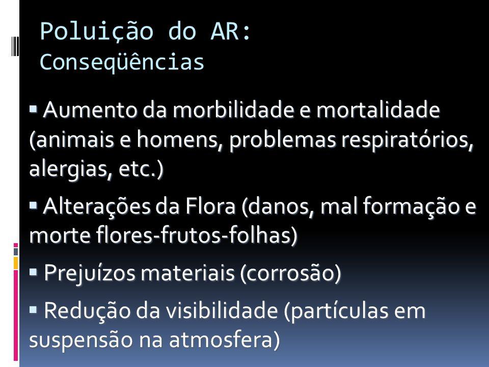 Poluição do AR: Conseqüências Aumento da morbilidade e mortalidade (animais e homens, problemas respiratórios, alergias, etc.) Aumento da morbilidade