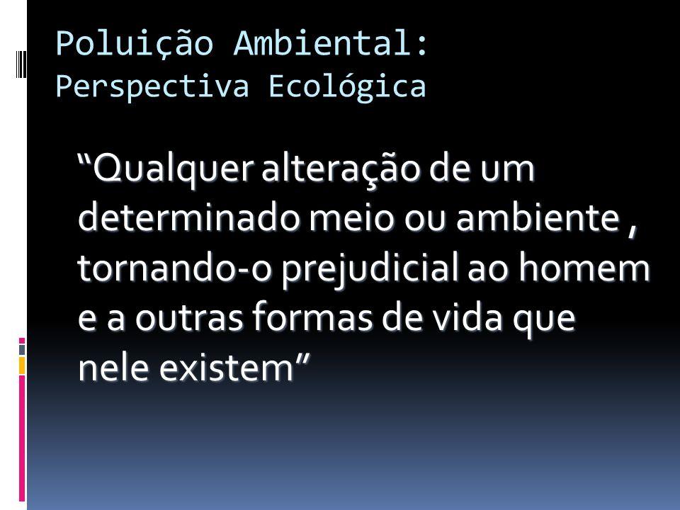Poluição Ambiental: Perspectiva Ecológica Qualquer alteração de um determinado meio ou ambiente, tornando-o prejudicial ao homem e a outras formas de