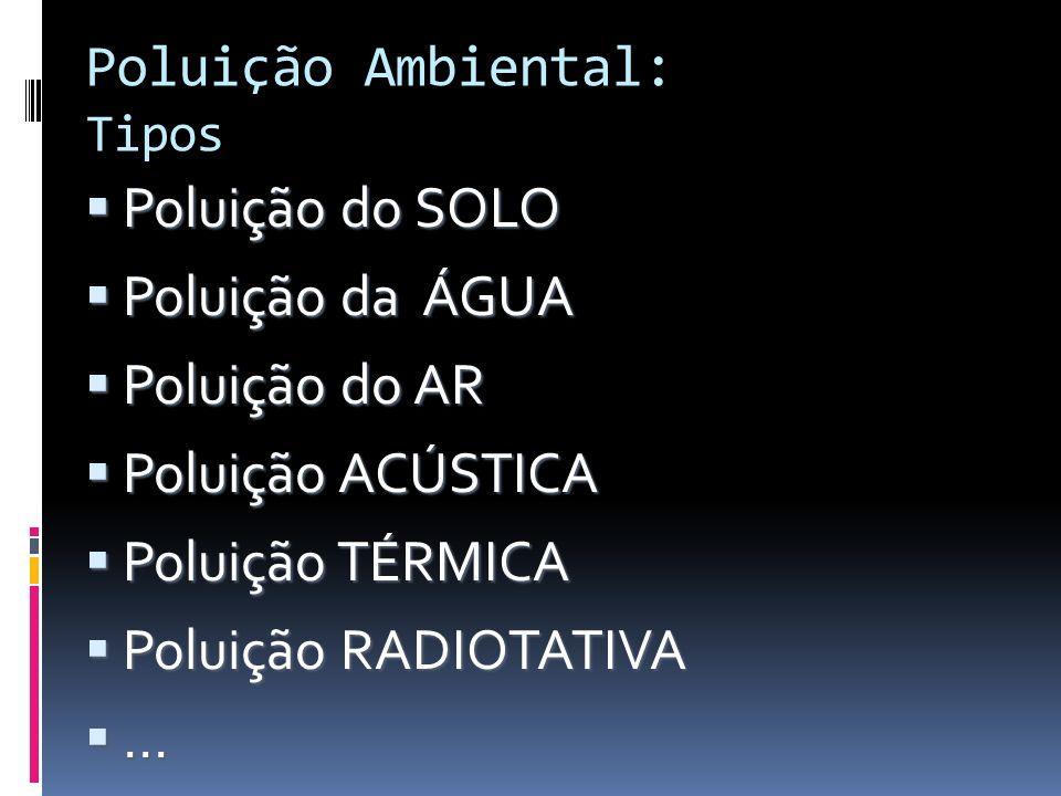 Poluição Ambiental: Tipos Poluição do SOLO Poluição do SOLO Poluição da ÁGUA Poluição da ÁGUA Poluição do AR Poluição do AR Poluição ACÚSTICA Poluição
