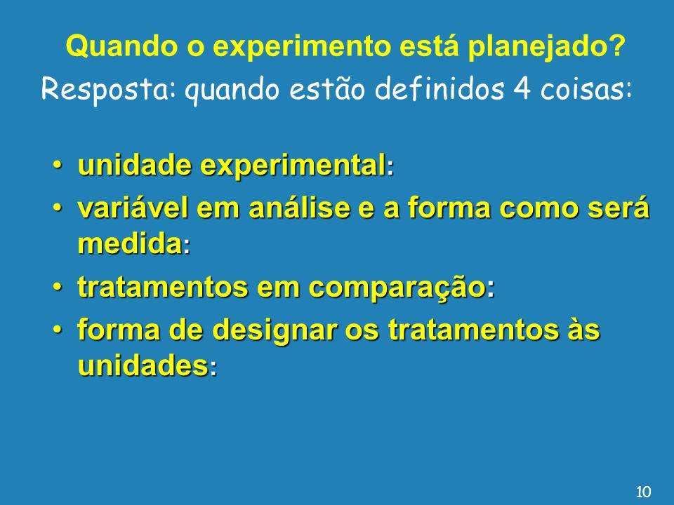 Quando o experimento está planejado? unidade experimental :unidade experimental : variável em análise e a forma como será medida :variável em análise