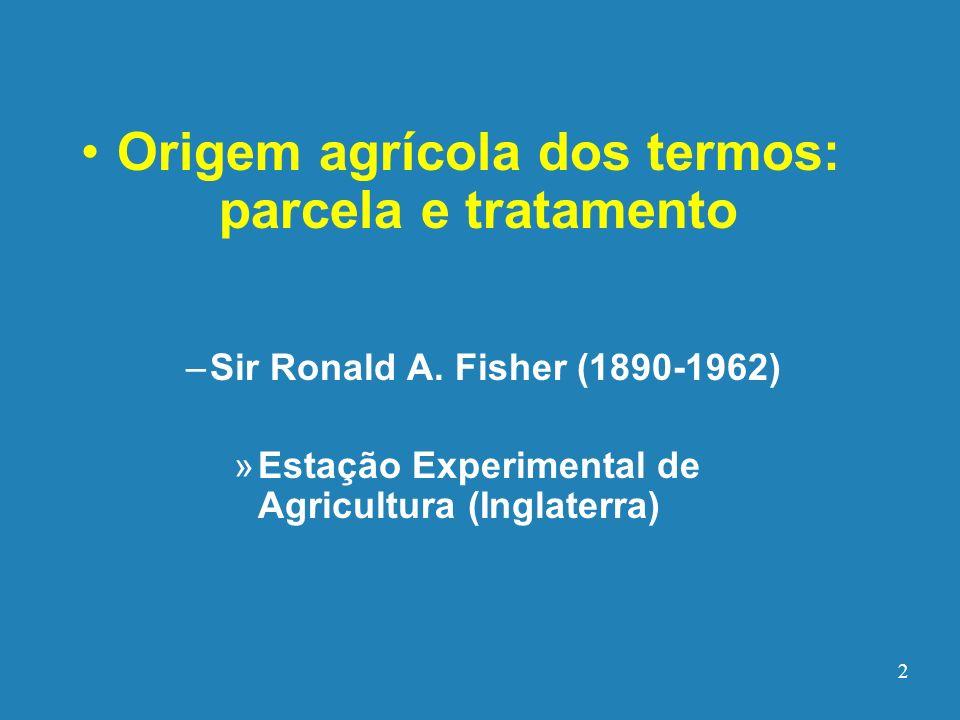 Origem agrícola dos termos: parcela e tratamento – –Sir Ronald A. Fisher (1890-1962) » »Estação Experimental de Agricultura (Inglaterra) 2
