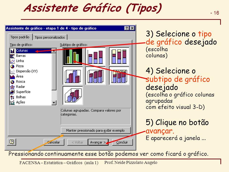 - 16 FACENSA – Estatística – Gráficos (aula 1) Prof. Neide Pizzolato Angelo Assistente Gráfico (Tipos) 3) Selecione o tipo de gráfico desejado (escolh