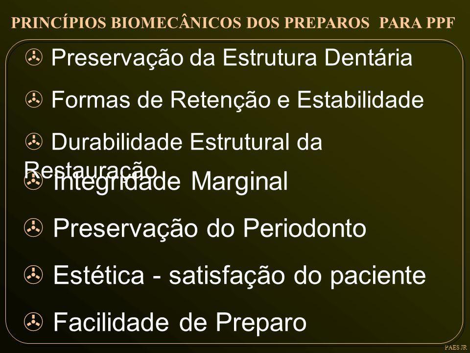 > Integridade Marginal > Preservação do Periodonto > Estética - satisfação do paciente > Facilidade de Preparo PRINCÍPIOS BIOMECÂNICOS DOS PREPAROS PA