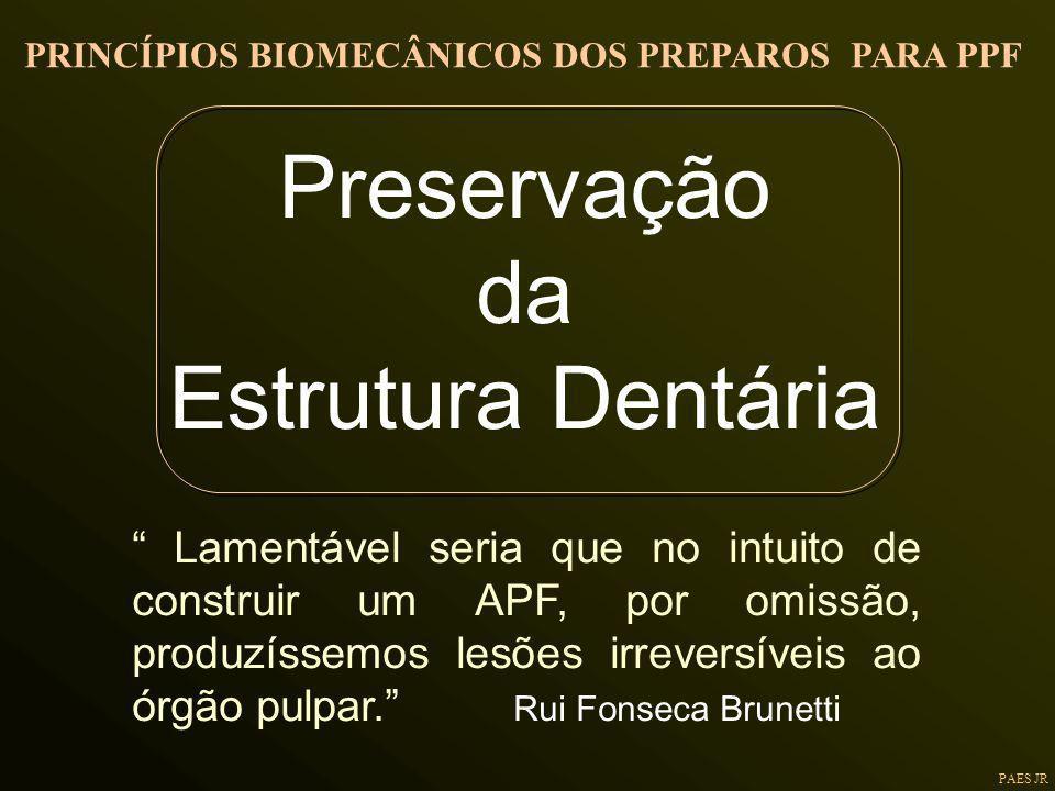 PAES JR Preservação da Estrutura Dentária Lamentável seria que no intuito de construir um APF, por omissão, produzíssemos lesões irreversíveis ao órgã