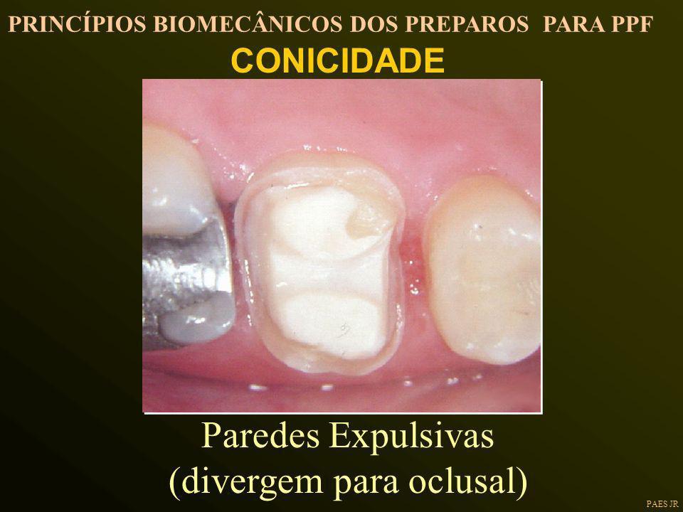 PAES JR Paredes Expulsivas (divergem para oclusal) CONICIDADE PRINCÍPIOS BIOMECÂNICOS DOS PREPAROS PARA PPF