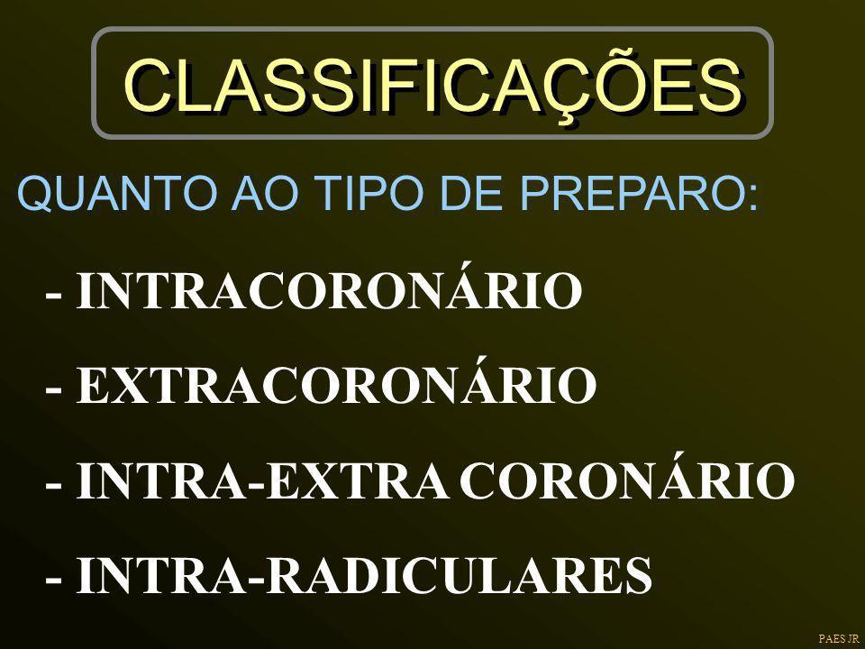 PAES JR CLASSIFICAÇÕES - INTRACORONÁRIO - EXTRACORONÁRIO - INTRA-EXTRA CORONÁRIO - INTRA-RADICULARES QUANTO AO TIPO DE PREPARO: