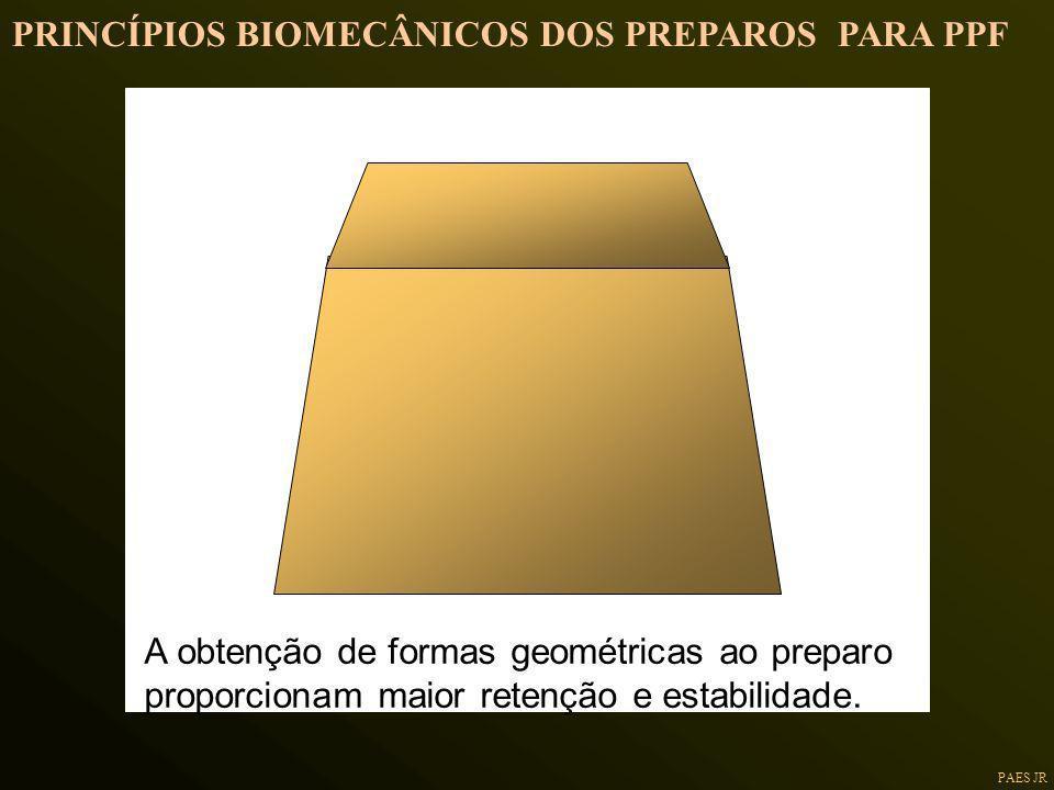 PAES JR A obtenção de formas geométricas ao preparo proporcionam maior retenção e estabilidade. PRINCÍPIOS BIOMECÂNICOS DOS PREPAROS PARA PPF