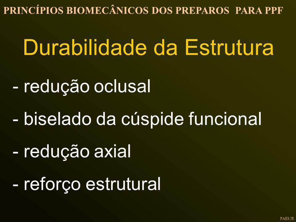 PAES JR - redução oclusal - biselado da cúspide funcional - redução axial - reforço estrutural PRINCÍPIOS BIOMECÂNICOS DOS PREPAROS PARA PPF Durabilid