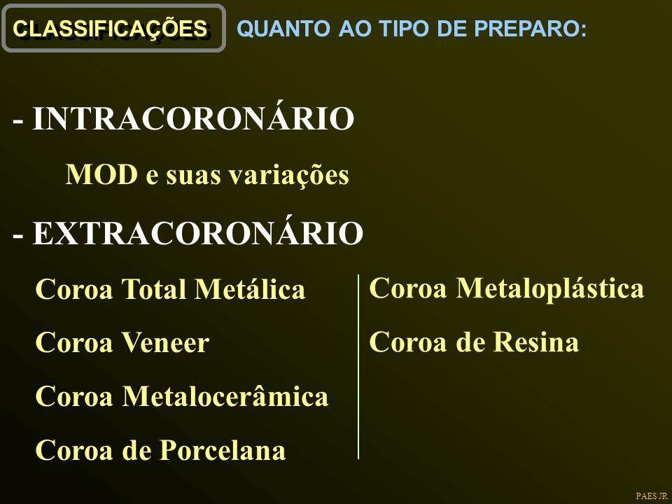 PAES JR CLASSIFICAÇÕES - INTRACORONÁRIO MOD e suas variações - EXTRACORONÁRIO Coroa Total Metálica Coroa Veneer Coroa Metalocerâmica Coroa de Porcelan