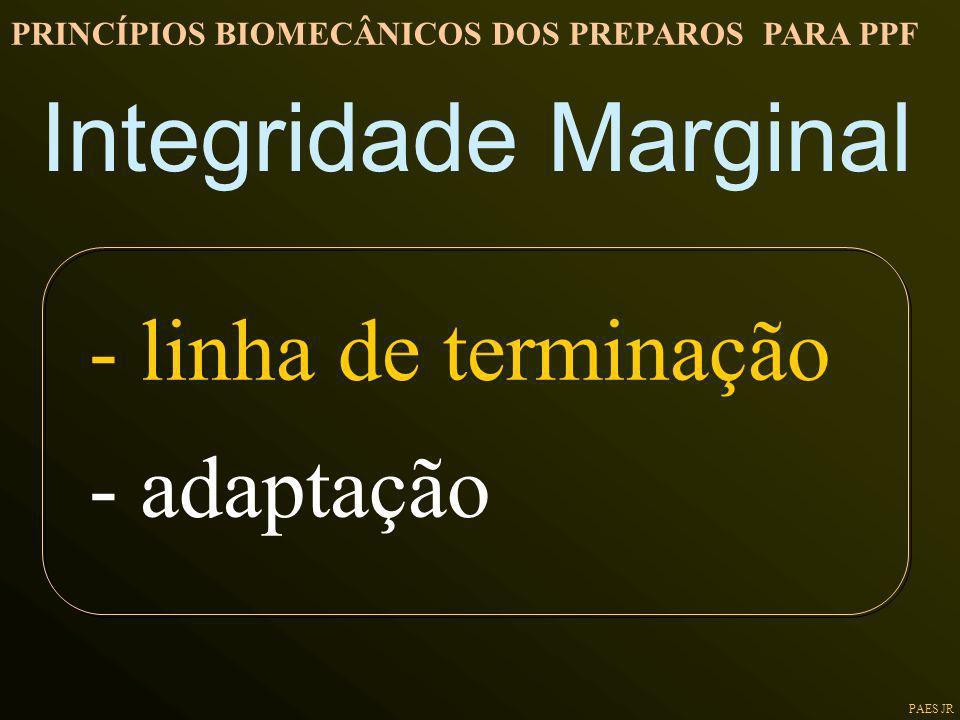 PAES JR Integridade Marginal PRINCÍPIOS BIOMECÂNICOS DOS PREPAROS PARA PPF - linha de terminação - adaptação