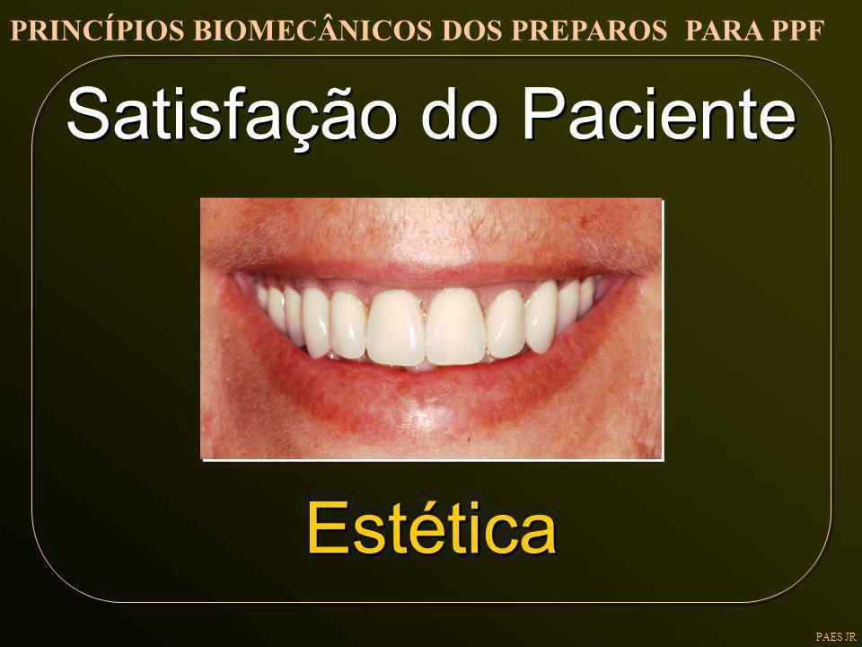 PAES JR Satisfação do Paciente Estética Satisfação do Paciente Estética PRINCÍPIOS BIOMECÂNICOS DOS PREPAROS PARA PPF