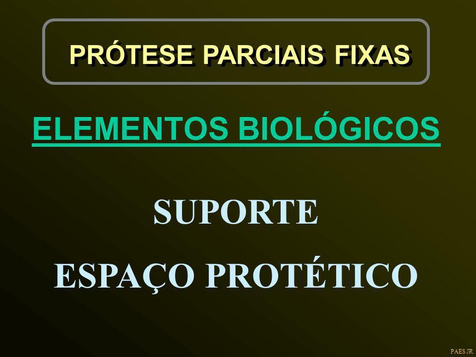 PAES JR PRÓTESE PARCIAIS FIXAS ELEMENTOS BIOLÓGICOS SUPORTE ESPAÇO PROTÉTICO
