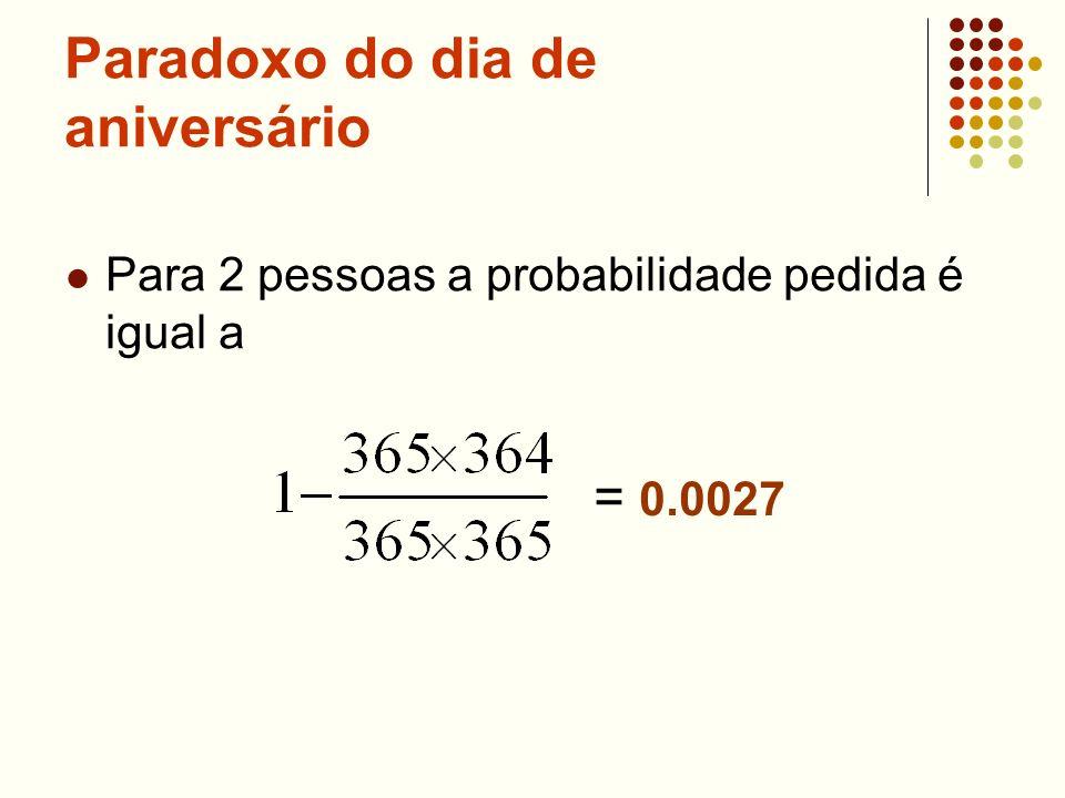 Paradoxo do dia de aniversário Para 2 pessoas a probabilidade pedida é igual a = 0.0027