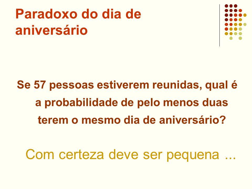 Paradoxo do dia de aniversário Se 57 pessoas estiverem reunidas, qual é a probabilidade de pelo menos duas terem o mesmo dia de aniversário? Com certe