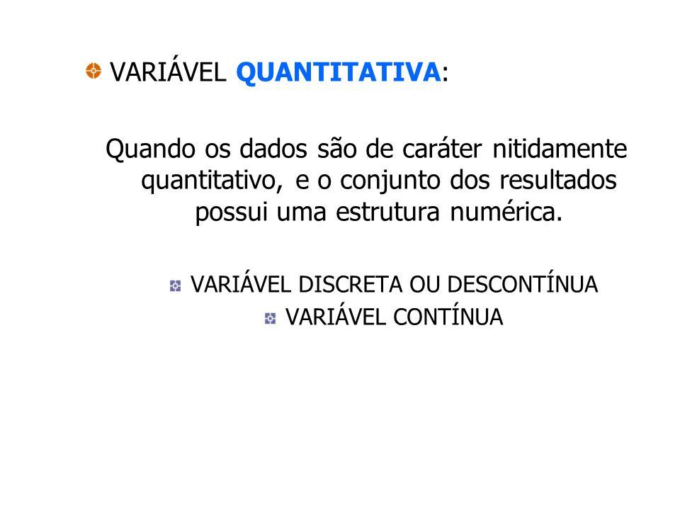 VARIÁVEL QUANTITATIVA: Quando os dados são de caráter nitidamente quantitativo, e o conjunto dos resultados possui uma estrutura numérica. VARIÁVEL DI