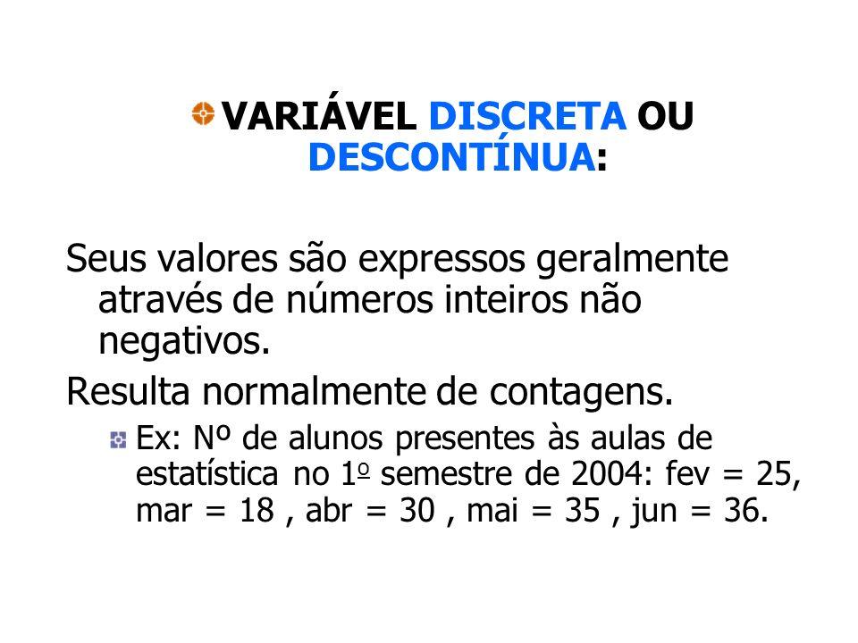 VARIÁVEL DISCRETA OU DESCONTÍNUA: Seus valores são expressos geralmente através de números inteiros não negativos. Resulta normalmente de contagens. E