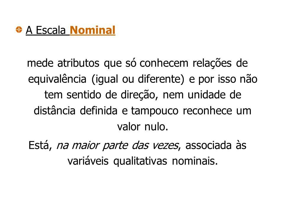 A Escala Nominal mede atributos que só conhecem relações de equivalência (igual ou diferente) e por isso não tem sentido de direção, nem unidade de di