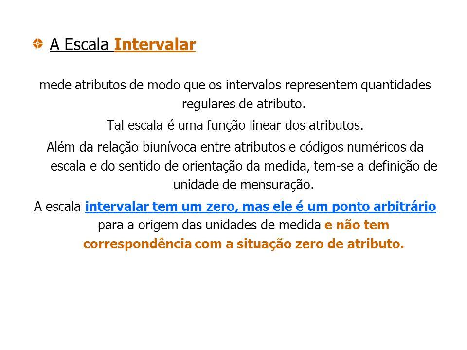 A Escala Intervalar mede atributos de modo que os intervalos representem quantidades regulares de atributo. Tal escala é uma função linear dos atribut
