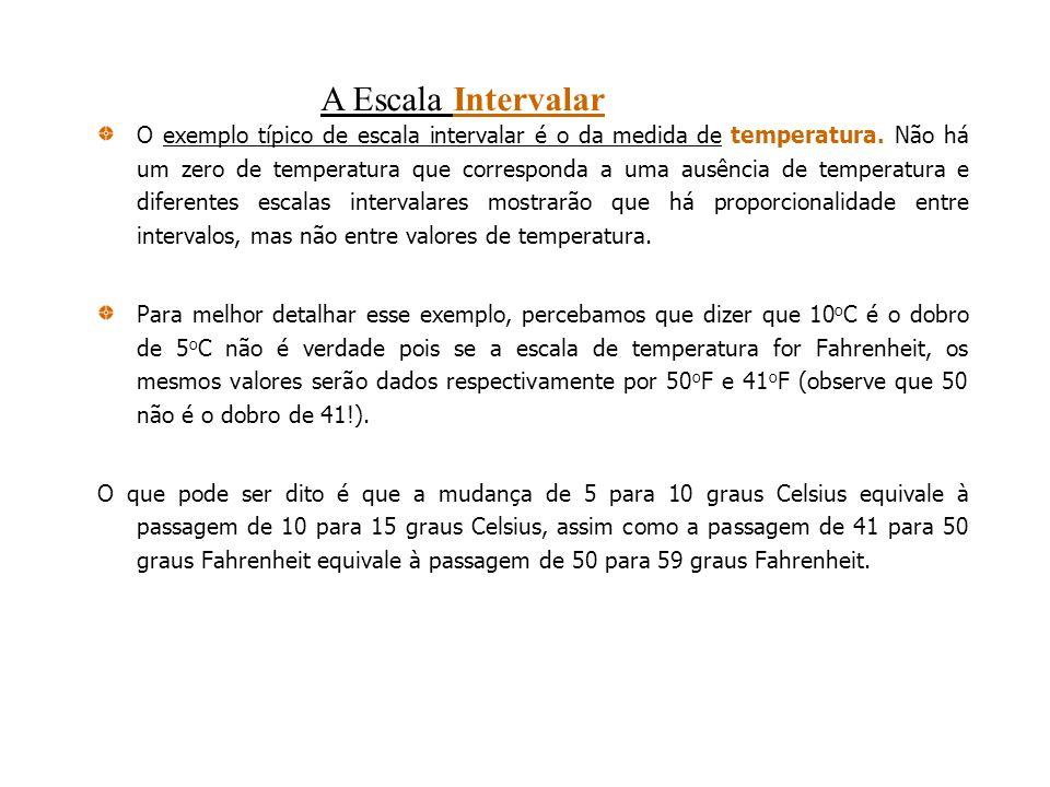 O exemplo típico de escala intervalar é o da medida de temperatura. Não há um zero de temperatura que corresponda a uma ausência de temperatura e dife