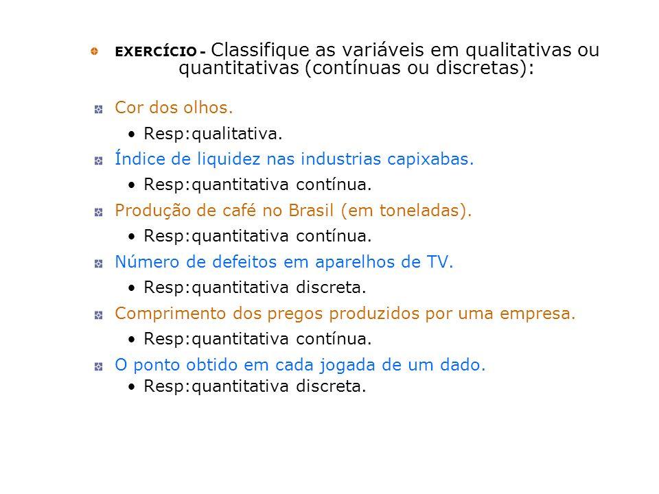 EXERCÍCIO - Classifique as variáveis em qualitativas ou quantitativas (contínuas ou discretas): Cor dos olhos. Resp:qualitativa. Índice de liquidez na