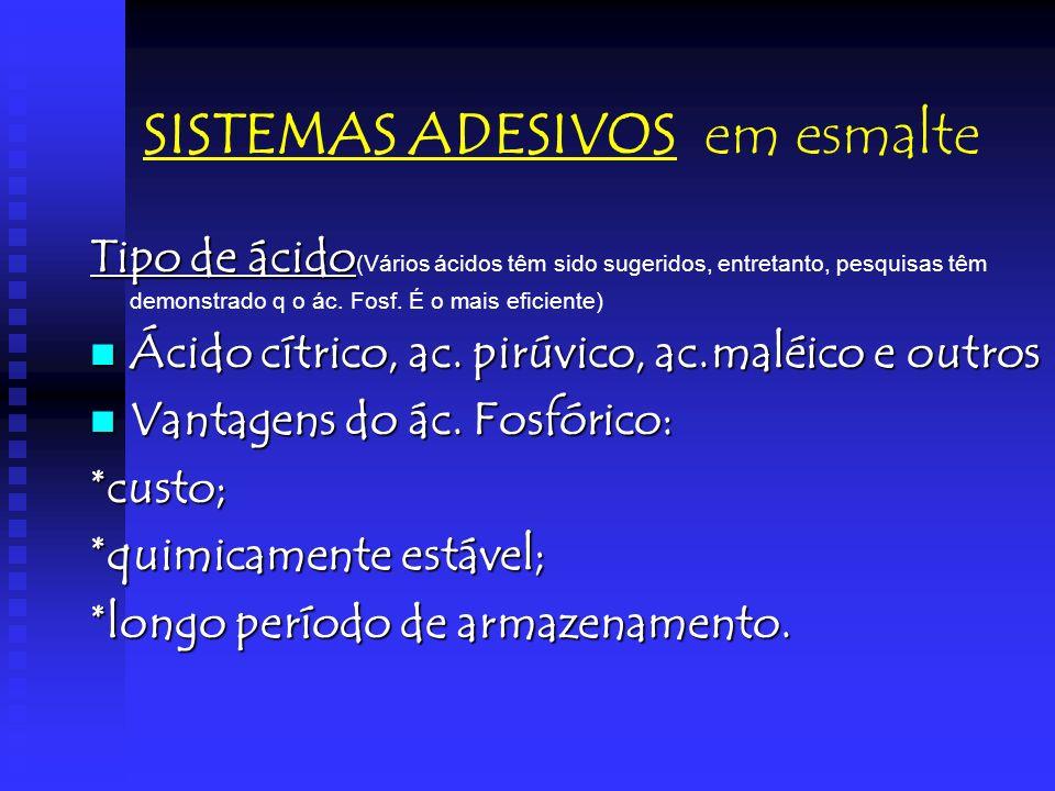 SISTEMAS ADESIVOS em esmalte Tipo de ácido Tipo de ácido (Vários ácidos têm sido sugeridos, entretanto, pesquisas têm demonstrado q o ác. Fosf. É o ma