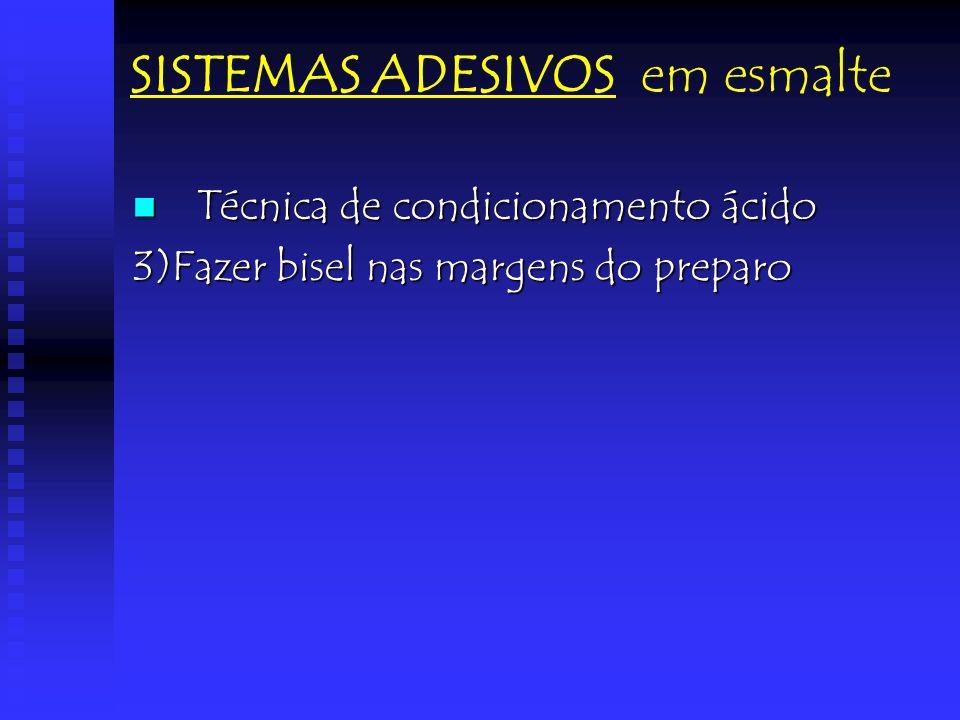 SISTEMAS ADESIVOS em esmalte Técnica de condicionamento ácido Técnica de condicionamento ácido 3)Fazer bisel nas margens do preparo