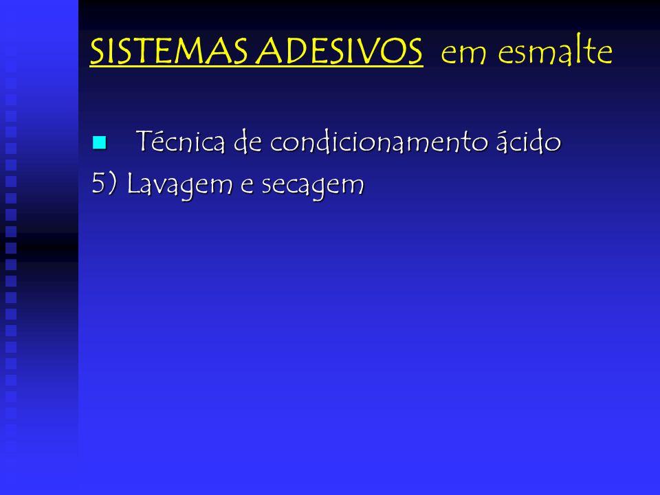 SISTEMAS ADESIVOS em esmalte Técnica de condicionamento ácido Técnica de condicionamento ácido 5) Lavagem e secagem