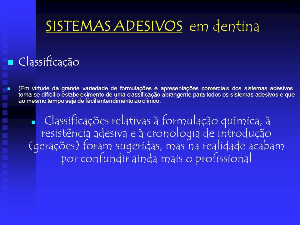 Classificação (Em virtude da grande variedade de formulações e apresentações comerciais dos sistemas adesivos, torna-se difícil o estabelecimento de u