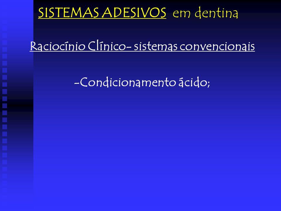Raciocínio Clínico- sistemas convencionais -Condicionamento ácido; SISTEMAS ADESIVOS em dentina